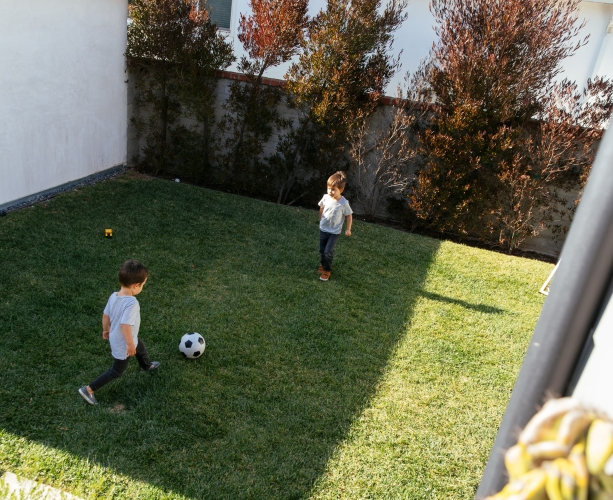 kids play soccer on vivint outdoor camera