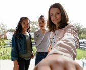 Group of girls shown on Vivint doorbell camera