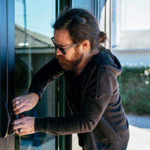 burglar being caught on vivint outdoor camera