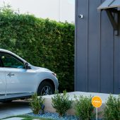 Vivint outdoor camera pro looking over a car