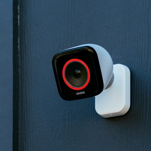 Vivint outdoor camera pro with red LED ring lit up
