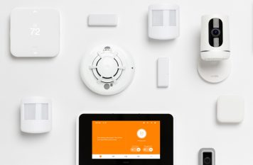 Vivint smart home products on a wall