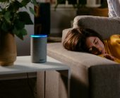 Amazon echo in a living room