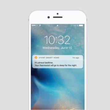 Vivint thermostat with smart phone alert
