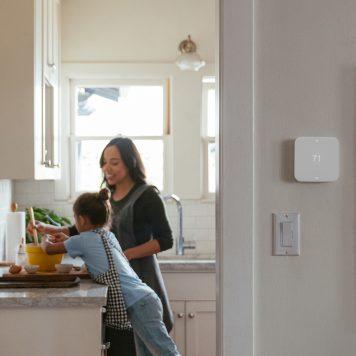 Vivint element thermostat outside a kitchen