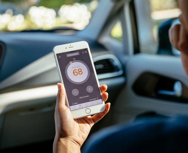 House temperature showing vivint smart phone
