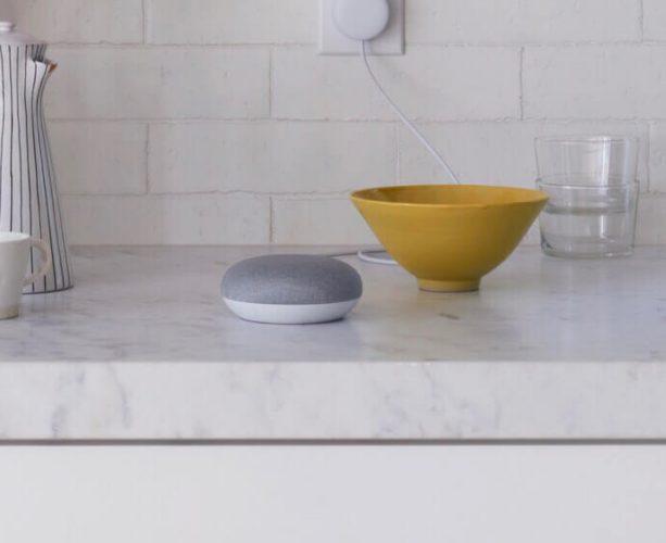 Google home mini in a kitchen