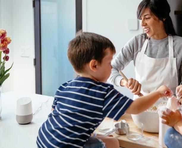 Mum checks recipe with google home and vivint