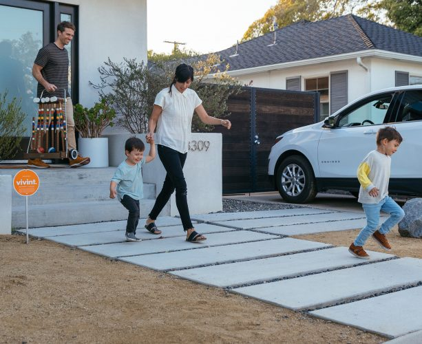 Family leaving house protected with vivint smart lock