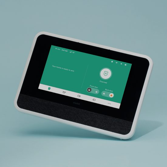 Vivint smart home hub showing armed screen