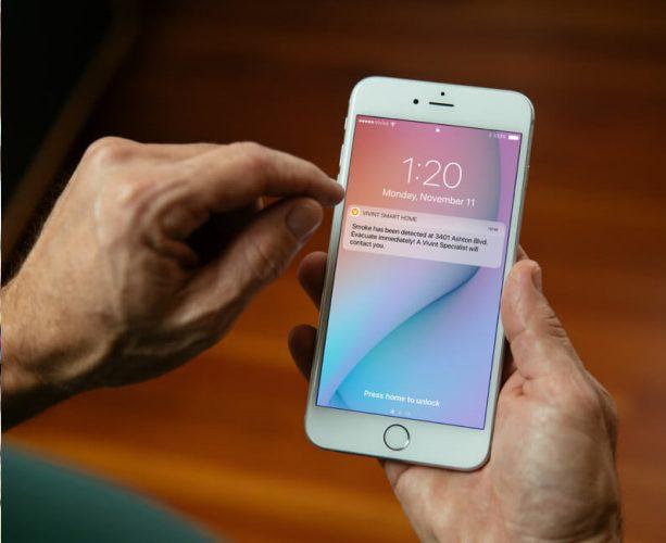 vivint mobile app showing smoke alert
